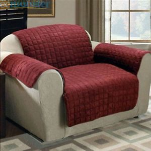 1pc Quilted Suede Arm Chair Pet Dog Cat Cover Protects Furniture Burgundy