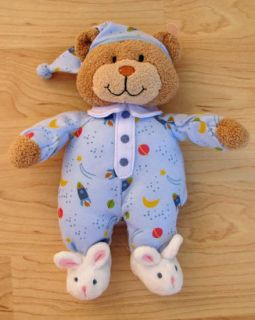 Kids Preferred Tan Plush Bear Blue Outfit Bunny Slippers Rattle Baby Toy Lovey