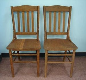 2 Antique Wood Slat Dining Chairs Tall Rustic Old Chair Chicago Wooden Solid