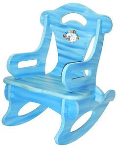 Blue Rocker Rocking Chair Solid Wood Kid Child Baby Boy Girl Play Toy Furniture