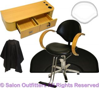 Oak Arms Hydraulic Barber Chair Styling Station Hair Mat Beauty Salon Equipment