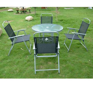 5pc Outdoor Dining Set Glass Top Table w 4 Folding Chairs Patio Garden Furniture