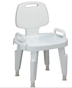 Medline No Tool Composite Bath Bench w Back Arms Shower Tub Chair MDS89755R