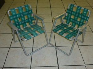 Vintage Child's Aluminum Folding Webbed Lawn Chair Green Matched Pair