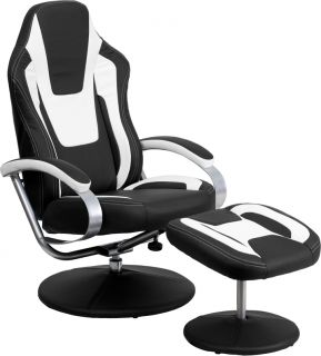 Racing Car Seat Style Black White Vinyl Home Office Recliner with Ottoman