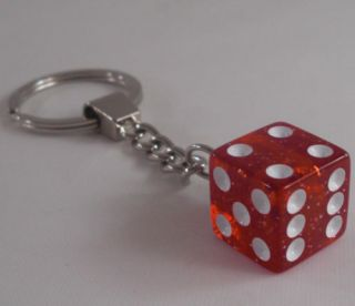 "Chrome Key Chain w Real ""Red Glitter"" Dice Hot Rat Rod Hotrod Ratrod Keychain"