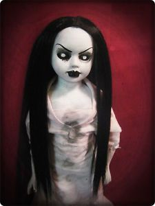 Creepy Gothic Doll with Black Hair Tattered Dress Horror Halloween Prop