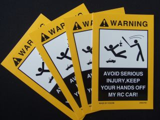 2pcs Warning Decals for Your Nitro Electric or Gas RC Car RC Truck or Drift Car