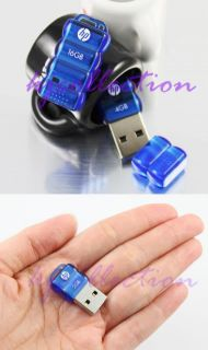 HP 16GB 16g Mini USB Flash Pen Drive Nano Mobile Tiny Disk Crytsal Blue V112B