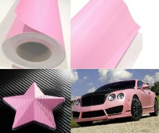 2x5 ft 3D Pink Carbon Fiber Vinyl Wrap Hood Roof Dash Trim Trunk Spoiler Kit