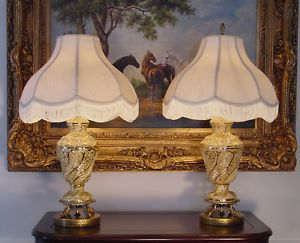 2 Antique Italian Capodimonte Hand Painted Porcelain Lamps