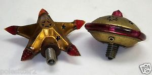 Antique Unusual 1930's Christmas Tree Light Bulbs Metal HP Flying Saucer Star