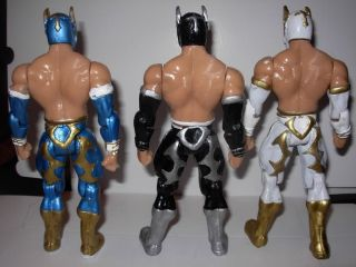 WWE Lot of 3 Sin Cara Mistico Toy Action Figures Luchador Blue White Black