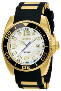 New Invicta 0996 Mens Watch Black Gold Inserts Band Stainless Steel Case