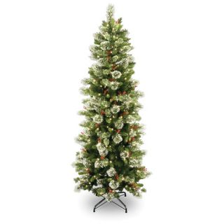 National Tree Co. Wintry Pine 7.5 Green Slim Artificial Christmas Tree with 400 Pre Lit Clear Lights with Stand