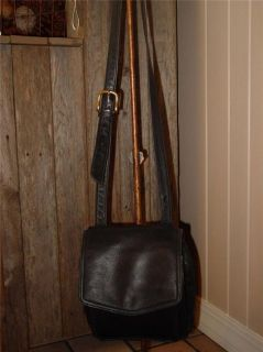 Fossil Genuine Black Leather Crossbody Organizer Purse with Key