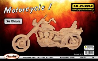 Harley Davidson Motorcycle 3D Puzzle Wood Craft Construction Kit