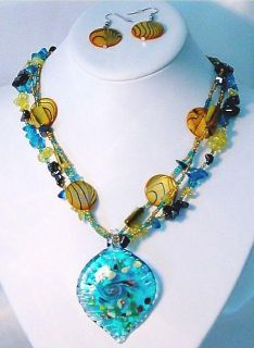 Blue Murano Glass Gold Glitter 3 Strand Necklace Earring Set