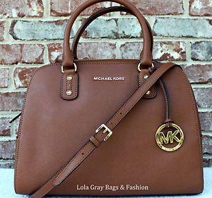 NWT Michael Kors Saffiano Large Satchel Brown Luggage New