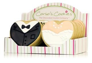 16 Bride Groom Wedding Bakery Made Shortbread Decorated Heart Cookies Favors