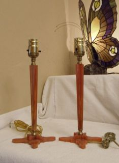 Antique Pair Catalin Bakelite Orange Art Deco Table Lamps Working 1930's 20'S