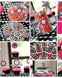 Pink Birthday Candy Buffet Bottle Labels Tags Stickers Paper Straws Bags Zebra