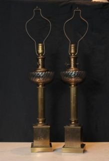 Pair Regency Brass Table Lamps Lights Column Cut Glass