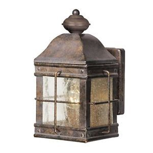 New 1 Light Colonial Outdoor Wall Lamp Lighting Fixture Bronze Clear Seed Glass