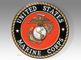 US Marine Corps Seal Wood Podium Plaque