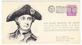 World War II Patriotic John Paul Jones Marine Core DC Bartley Cachet Item 4024