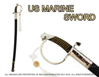 "36"" US USMC Marine Corps Dress Uniform Officer NCO Sword Chrome Brand New"