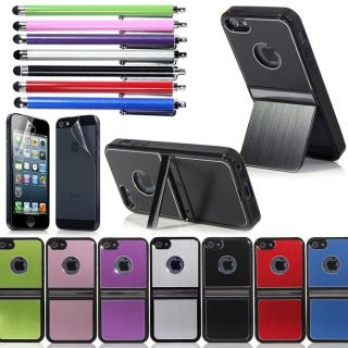 Luxury Brushed Aluminum Chrome Hard Back Case Cover for iPhone 5 5g 6th Stylus