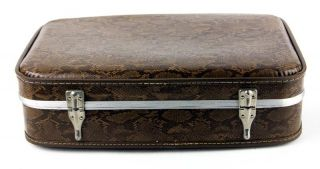 "Vintage 21"" Brown Faux Snakeskin Hard Shell Suitcase Luggage Train Case Retro"