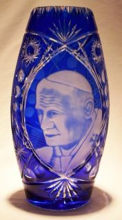 Pope John Paul II Religious Handcrafted Crystal Vase