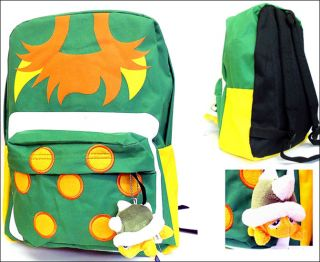 Super Mario Bros Nintendo School Backpack Bag Green Bowser Plush Keychain New