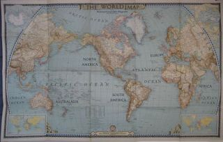 Large Format 1943 World Map Pre WW2 Boundaries Germany