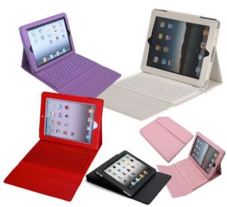 For iPad 4 3 2 Green Purple Black Red White Pink Leather Case Bluetooth Keyboard