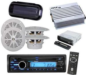 "New Sony Marine Radio Aux Input iPod Input Stereo Cover 4 x 4"" Speakers w Amp"
