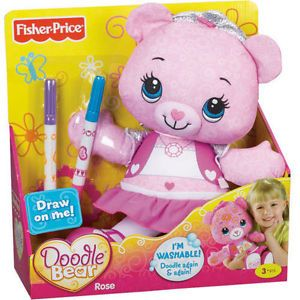 "Fisher Price Doodle Bear ""Rose"" Pink Teddy Bear w Markers and Stencil"