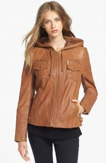 $495 Michael Kors Vintage Leather Hooded Moto Jacket Luggage Brown M