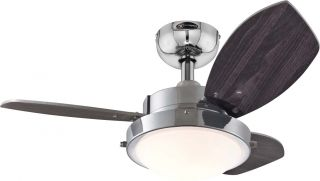 "Westinghouse 7876300 Wengue Chrome 30"" Ceiling Fan w Light Pull Chains"
