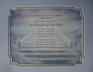 We Thought of You Today Memorial Poem in Loving Memory of Loved One Grandfather