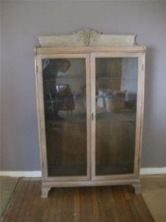 Antique Oak Glass Door Bookcase Display Wood Shelves Indiana Farm House Find