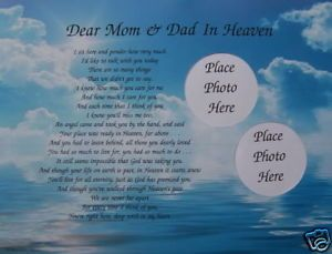 Dear Mom Dad in Heaven Poem Memorial Verse in Memory