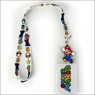 Nintendo Super Mario Bros Luigi Lanyard Neck Strap Necklace ID Holder Keychain