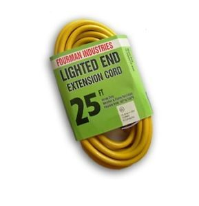 New Contractor Grade Outdoor Extension Cord 12 Gauge 25 ft Lighted End Yellow