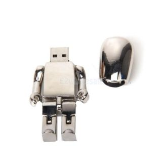 2GB 2G Capacity USB Silvery Robot Design Flash Drive Flash Disk Memory Stick Pen