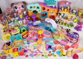 Hasbro Littlest Pet Shop Playset 48 Animals Dog Food Toy Accessories Big Lot A