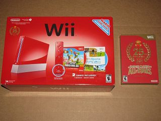 New Nintendo Wii New Super Mario Bros Pack Red Console Super Mario All Stars