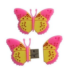 Wholesales New Cartoon Pink Butterfly USB 2 0 Memory Flash Stick Pen Drive